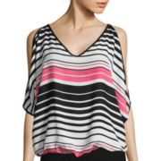 by&by Short-Sleeve Striped Cold Shoulder Blouse
