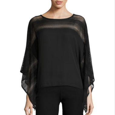 jcpenney.com | by&by 3/4-Sleeve Perforated Poncho Blouse