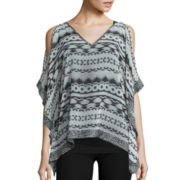by&by Cold Shoulder Mixed Print Poncho Blouse