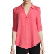 by&by 3/4-Sleeve Button-Front Shirt