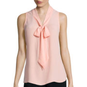 Heart & Soul® Sleeveless Chiffon Bow Blouse