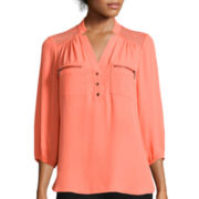 Hollywould 3/4-Sleeve Chiffon Top