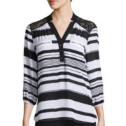 Hollywould 3/4-Sleeve Striped Chiffon Top