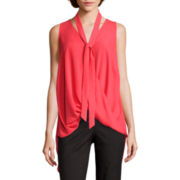 Heart & Soul® Sleeveless Chiffon Criss-Cross Bow Blouse