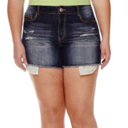 Vanilla Star® Crochet-Trim Distressed Denim Shorts - Plus
