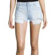 Vanilla Star® Crochet-Trim Distressed Denim Shorts