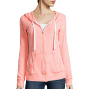 Miss Chevious Lace Back Zip-Up Hoodie