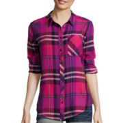 Arizona Long-Sleeve Plaid Button-Front Shirt