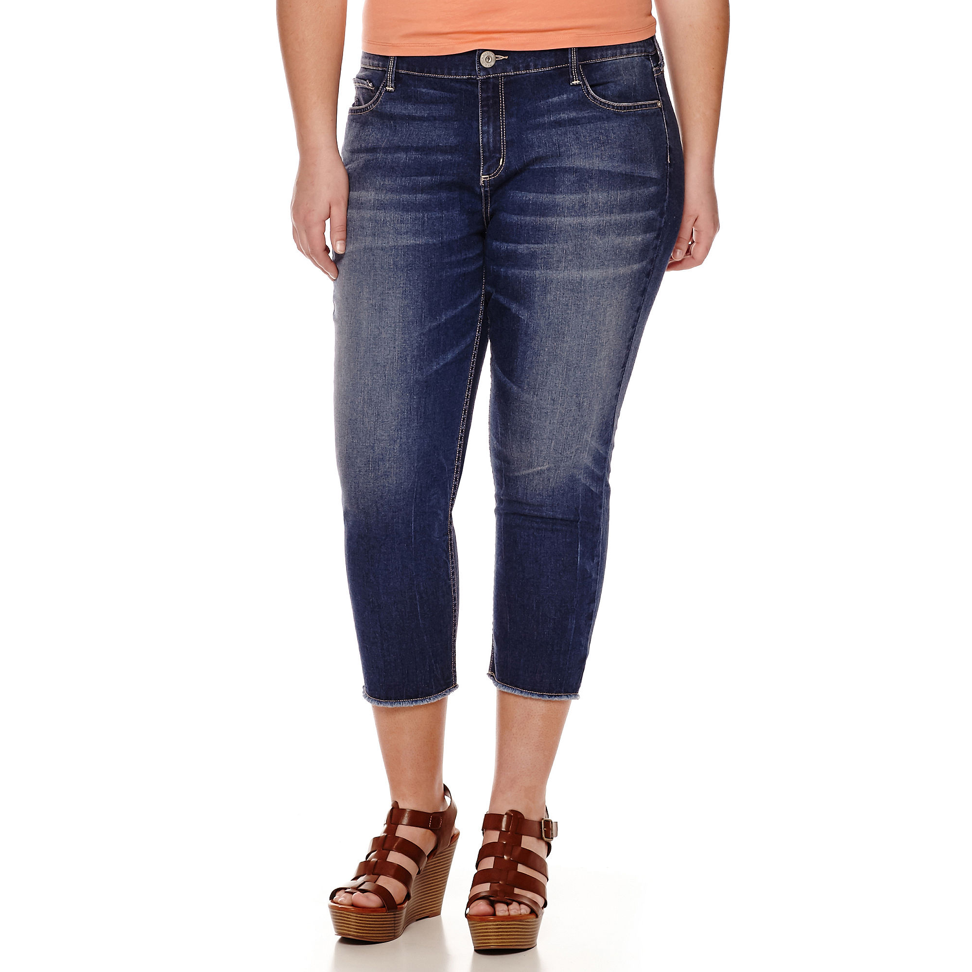 Arizona Cut-Off Denim Cropped Pants- Juniors Plus plus size,  plus size fashion plus size appare