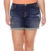 Arizona Destructed Boyfriend Shorts - Juniors Plus