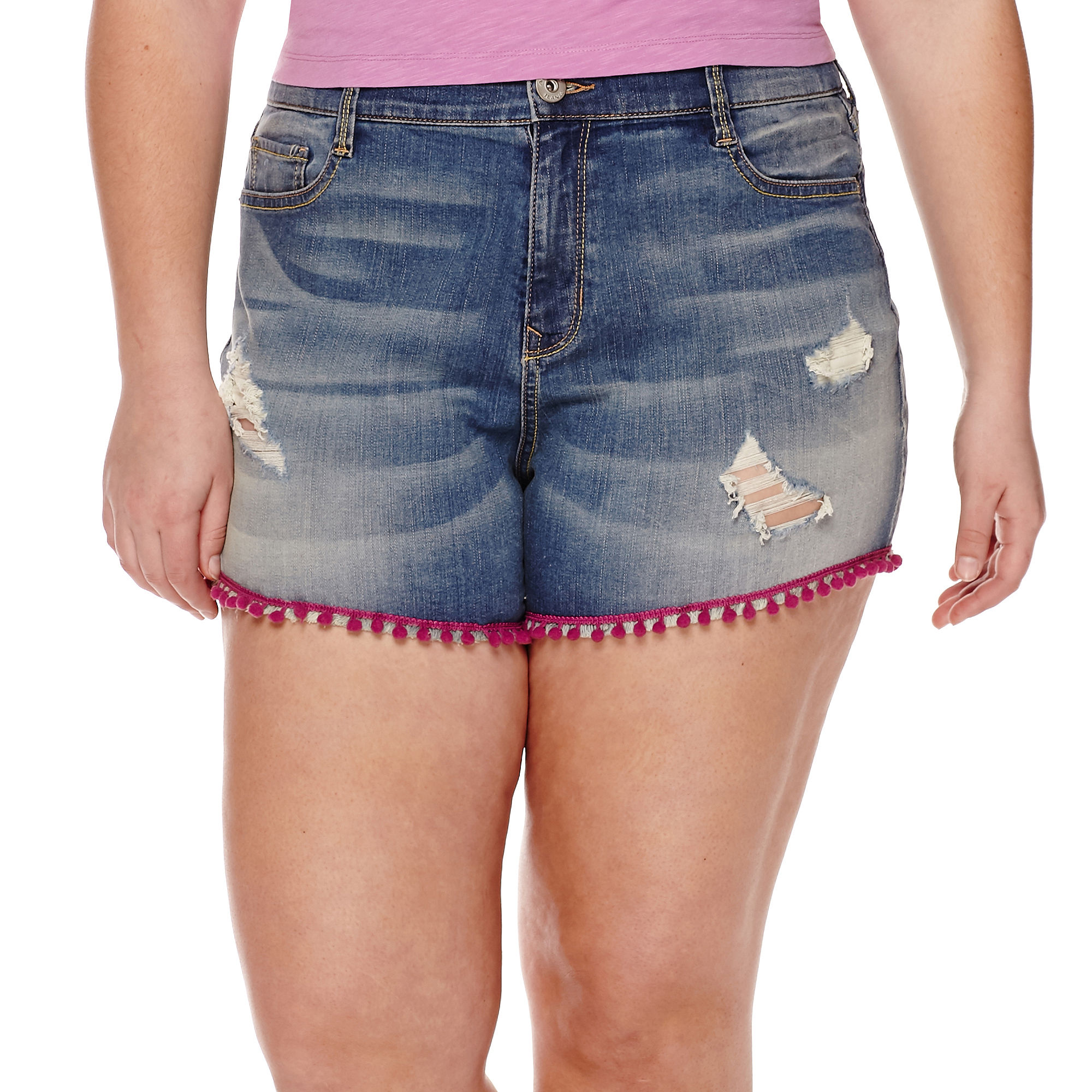 Arizona Pom Pom Hi-Rise Shorty Shorts - Juniors Plus plus size,  plus size fashion plus size appare