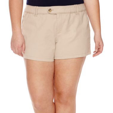 jcpenney.com | Arizona Cabo Mid-Rise Twill Shorty Shorts - Juniors Plus