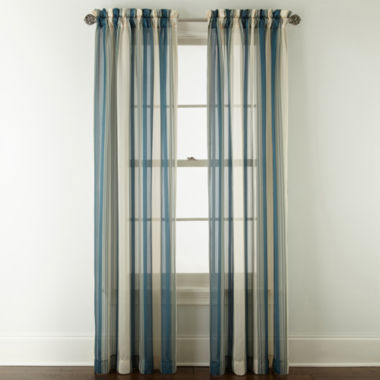 jcpenney.com | Royal Velvet® Kingston Stripe Rod-Pocket Sheer Panel