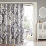 Madison Park Marcella Cotton Leaf Print Shower Curtain