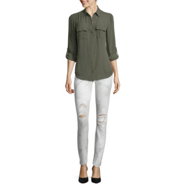 jcpenney.com | a.n.a® Long-Sleeve Shirt or Roll-Cuff Skinny Ankle Jeans - Petite