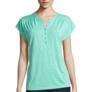 Liz Claiborne® Extended-Shoulder Henley Tee - Petite