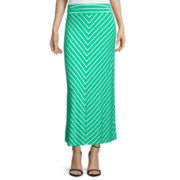 Liz Claiborne® Mitered Stripe Maxi Skirt - Petite