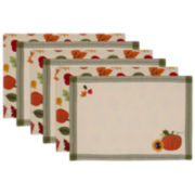 Avanti Harvest Pumpkin Embroidered Set of 6 Placemats