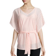 Alyx® Short-Sleeve V-Neck Stripe Woven Top