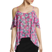 I 'Heart' Ronson® Floral Cold-Shoulder Top