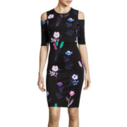 I 'Heart' Ronson® 3/4-Sleeve Floral Print Scuba Dress