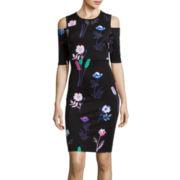 I 'Heart' Ronson® 3/4-Sleeve Floral Print Scuba Dress