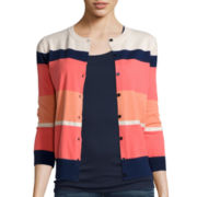 St. John's Bay® Button-Front Cardigan Sweater- Petite