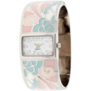Womens Patterned Cuff Bangle Watch