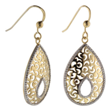 jcpenney.com | 14K Gold Over Silver Textured Teardrop Earrings