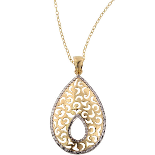 14K Gold Over Silver Textured Teardrop Pendant Necklace