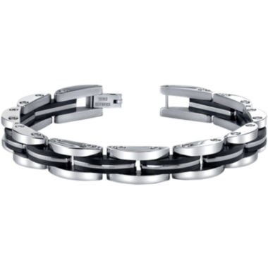 jcpenney.com | Mens Stainless Steel & Black IP Link Bracelet