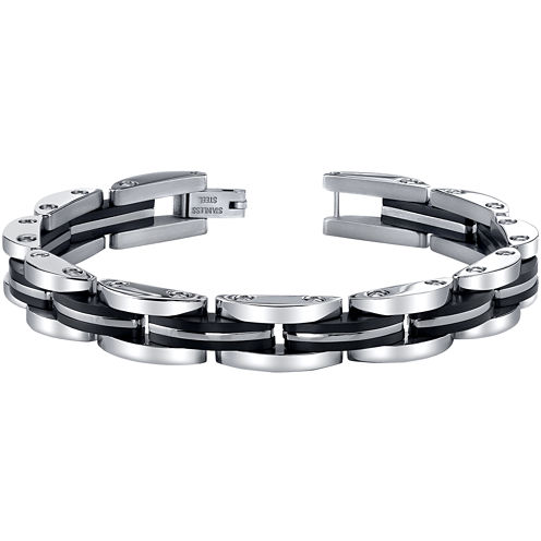 Mens Stainless Steel & Black IP Link Bracelet