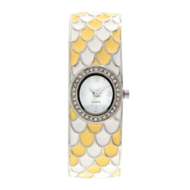 jcpenney.com | Womens Feather Patterned Closed Bangle Bracelet Watch