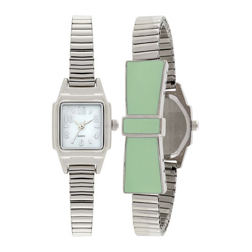 Womens Stretch Bow Square Case Watch