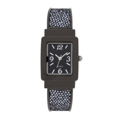 jcpenney.com | Womens Square Case Black Bangle Watch