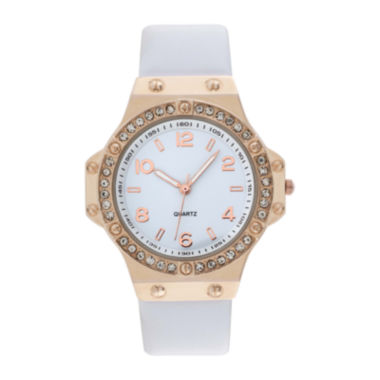jcpenney.com | Womens Faux Leather Stone Accent Watch