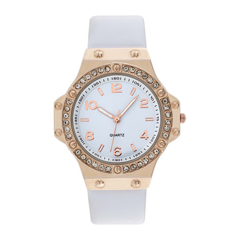 Womens Faux Leather Stone Accent Watch