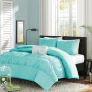 Mizone Cristy Ruched Duvet Cover Set