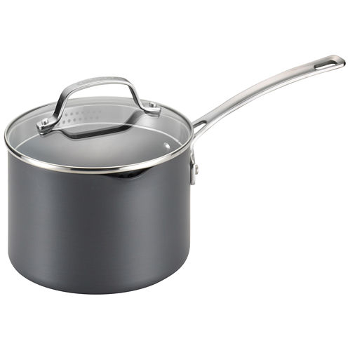 Circulon® Genesis 3-qt. Hard-Anodized Nonstick Covered Straining Saucepan