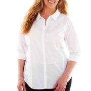 Worthington® 3/4-Sleeve Button-Front Top - Plus