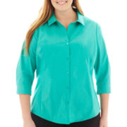 Worthington® 3/4-Sleeve Button-Front Top - Plus