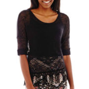 Sugar High 3/4-Sleeve Sheer Crochet-Hem Top
