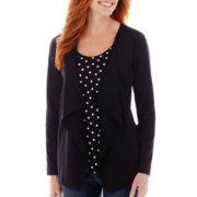 St. John's Bay® Long-Sleeve Knit Layered Flyaway Cardigan