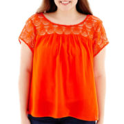 Arizona Cap-Sleeve Lace-Yoke Top - Plus