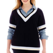 Stylus™ Short-Sleeve Tennis Sweater - Plus