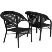 Set of 2 Wicker Fan Back Club Outdoor Chairs