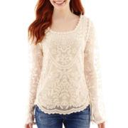 Rewind Long-Sleeve Scalloped-Hem Crochet Top