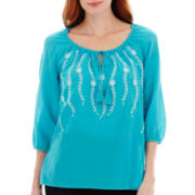 St. John's Bay® 3/4-Sleeve Vine Embroidered Peasant Top