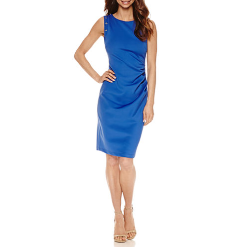 Bisou Bisou Sleeveless Partially Lined Sheath Dress