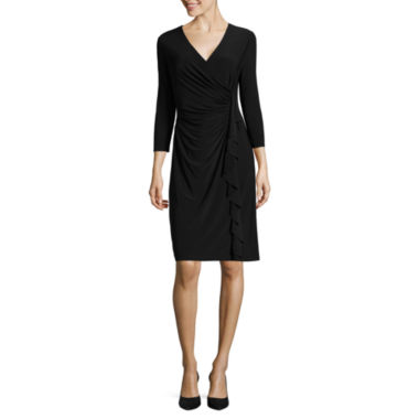 jcpenney.com | Black Label by Evan-Picone 3/4 Sleeve Ruffle Sheath